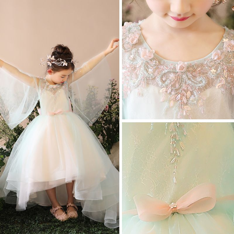 Chic / Beautiful Church Wedding Party Dresses 2017 Flower Girl Dresses Sage Green Asymmetrical Ball Gown Scoop Neck Long Sleeve Bow Sash Appliques Sequins Beading
