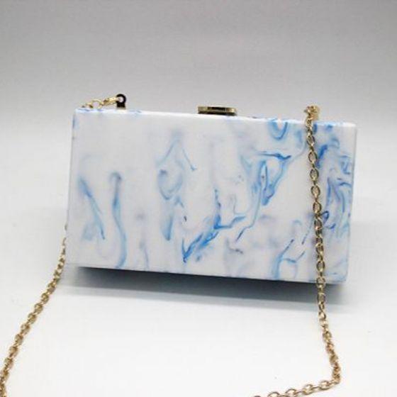 Moda Azul Real Impresión PU de fiesta Bolsas de embrague 2018