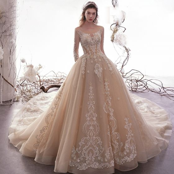 Luxury / Gorgeous Champagne See-through Wedding Dresses