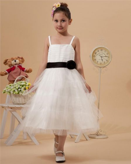 Satin Mesh Ruffle Sash Spaghetti Strap Tea Length Flower Girl Dresses