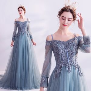 Classy Pool Blue Prom Dresses 2020 A-Line / Princess Spaghetti Straps Sequins Lace Flower Long Sleeve Backless Court Train Formal Dresses