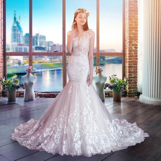 Illusion Champagne See-through Wedding Dresses 2018 Trumpet / Mermaid Scoop Neck Cap Sleeves Backless Appliques Pierced Lace Court Train Ruffle
