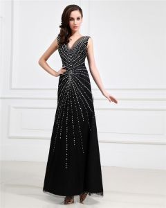 Junoesque Tulle V Neck Floor Length Sheath Women's Evening Dress
