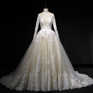Elegant Champagne Wedding Dresses 2018 Ball Gown Lace Appliques Sequins Scoop Neck Backless Long Sleeve Court Train Wedding