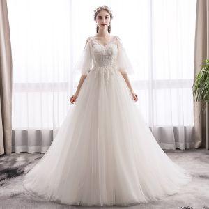 Elegant Ivory Wedding Dresses 2019 A-Line / Princess V-Neck Lace Flower 1/2 Sleeves Backless Sweep Train