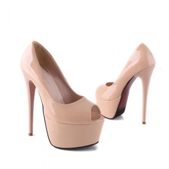 Chic / Beautiful Prom Pumps 2017 PU Platform High Heel Open / Peep Toe Pumps