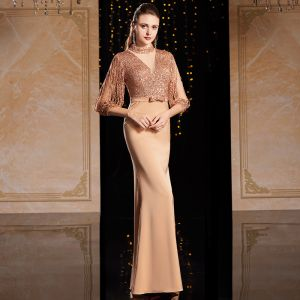 Classy Gold Evening Dresses  2020 A-Line / Princess Scoop Neck Sequins Bow 3/4 Sleeve Floor-Length / Long Formal Dresses