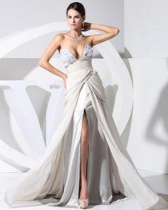 V Neck Zipper Sleeveless Applique Ruffle Chiffon Lace Woman Celebrity Dresses
