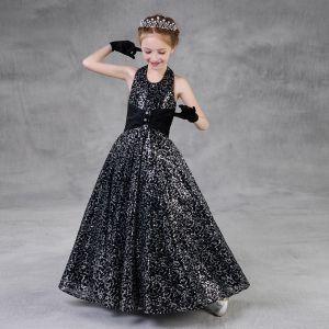 Brillante Negro Lentejuelas Vestidos para niñas 2018 A-Line / Princess Halter Sin Mangas Largos Ruffle Sin Espalda Vestidos para bodas