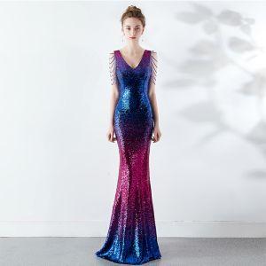 Sparkly Gradient-Color Evening Dresses  2019 Trumpet / Mermaid V-Neck Beading Crystal Sequins Sleeveless Backless Floor-Length / Long Formal Dresses
