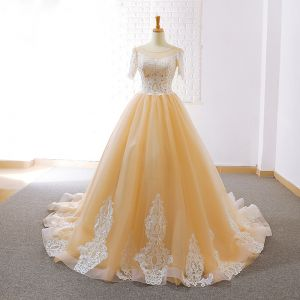 Elegant Champagne Prom Dresses 2018 A-Line / Princess See-through Scoop Neck Short Sleeve Appliques Lace Court Train Ruffle Backless Formal Dresses