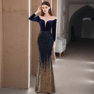 Błyszczące Królewski Niebieski Zima Sukienki Wieczorowe 2020 Syrena / Rozkloszowane Przezroczyste Kwadratowy Dekolt Długie Rękawy Rhinestone Długie Wzburzyć Sukienki Wizytowe