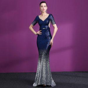 Sparkly Navy Blue Gradient-Color Sequins See-through Evening Dresses  2018 Trumpet / Mermaid Scoop Neck Short Sleeve Metal Sash Rhinestone Sweep Train Ruffle Formal Dresses