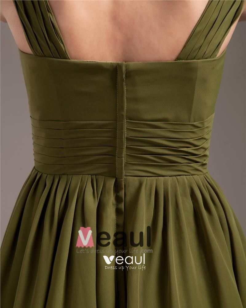 Elegant Strap Knee-Length Georgette Bridesmaids Dresses