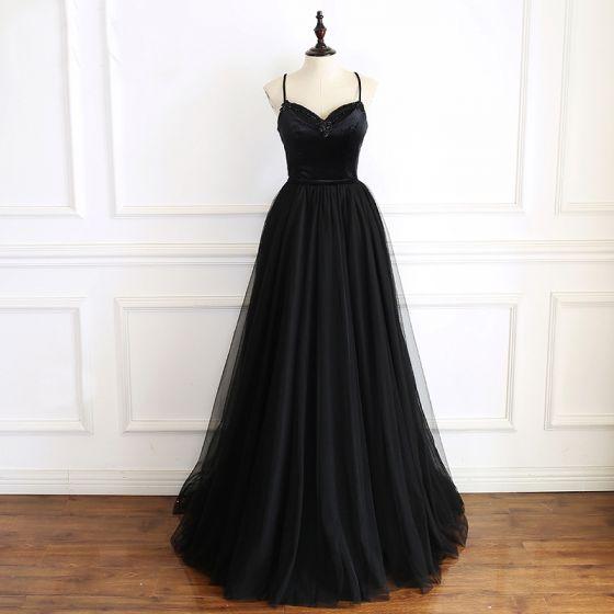 Eleganckie Czarne Sukienki Na Bal 2019 Princessa Spaghetti Pasy Bez Rękawów Frezowanie Szarfa Długie Wzburzyć Bez Pleców Sukienki Wizytowe