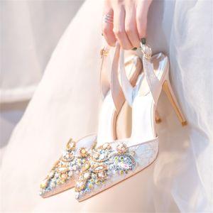 Charmant Ivoire Cristal Chaussure De Mariée 2020 Cuir Faux Diamant 10 cm Talons Aiguilles À Bout Pointu