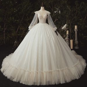 Luxury / Gorgeous Ivory Bridal Wedding Dresses 2020 Ball Gown See-through Deep V-Neck Puffy Long Sleeve Backless Appliques Lace Sequins Beading Cathedral Train Ruffle