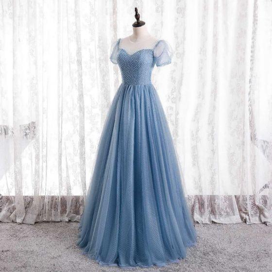 Encantador Azul Rebordear Vestidos de gala 2021 A-Line / Princess Scoop Escote Manga Corta Largos Vestidos Formales