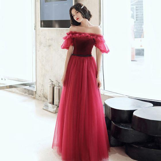 Hermoso Rojo Vestidos de noche 2020 A-Line / Princess Fuera Del Hombro Hinchado Manga Corta Glitter Tul Cinturón Largos Ruffle Sin Espalda Vestidos Formales