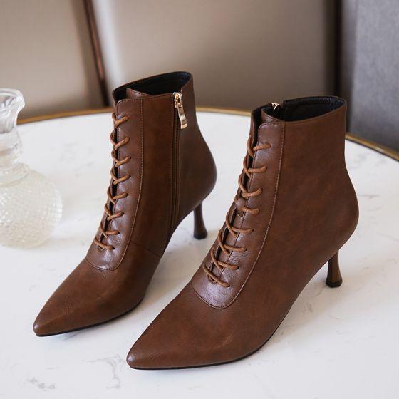 Mote Brun Gateklær Lær Kvinners støvler 2021 Ankel Snøre opp 7 cm Stiletthæler Spisse Boots