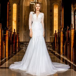 Illusion Ivory Wedding Dresses 2018 Trumpet / Mermaid V-Neck Pierced Long Sleeve Backless Appliques Lace Chapel Train Ruffle