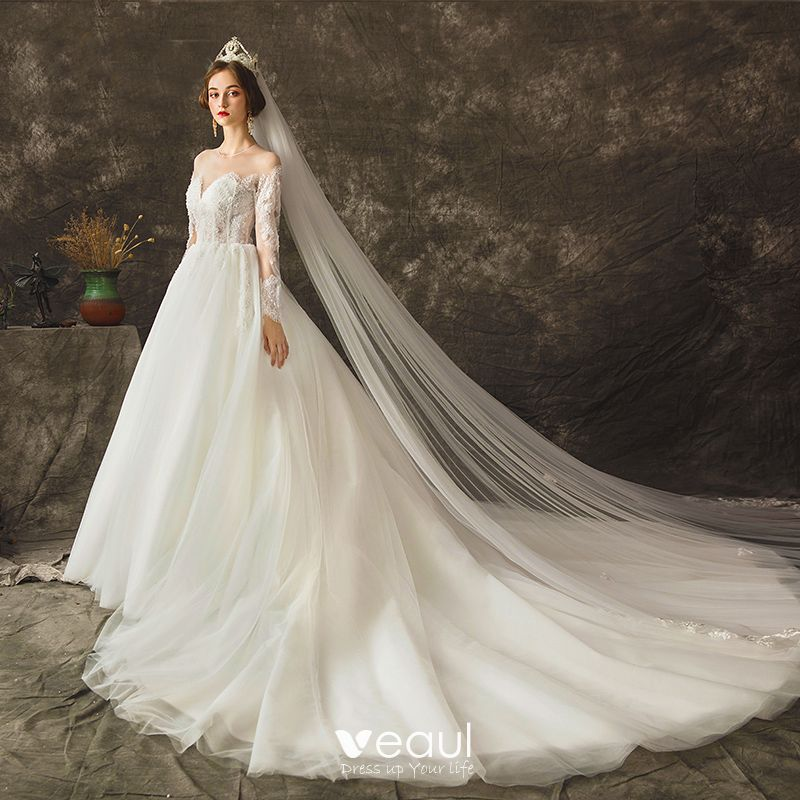 Dressv Ivory Wedding Dress Strapless Long Sleeves Chapel: Charming Ivory See-through Wedding Dresses 2019 Ball Gown