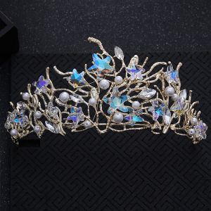 Chic / Beautiful Ocean Blue Bridal Jewelry 2017 Metal Beading Crystal Rhinestone Headpieces Wedding Prom Accessories