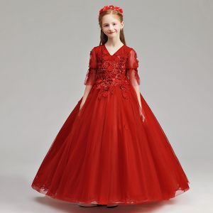 Chic / Beautiful Burgundy Flower Girl Dresses 2019 A-Line / Princess V-Neck 1/2 Sleeves Appliques Lace Pearl Floor-Length / Long Ruffle Wedding Party Dresses