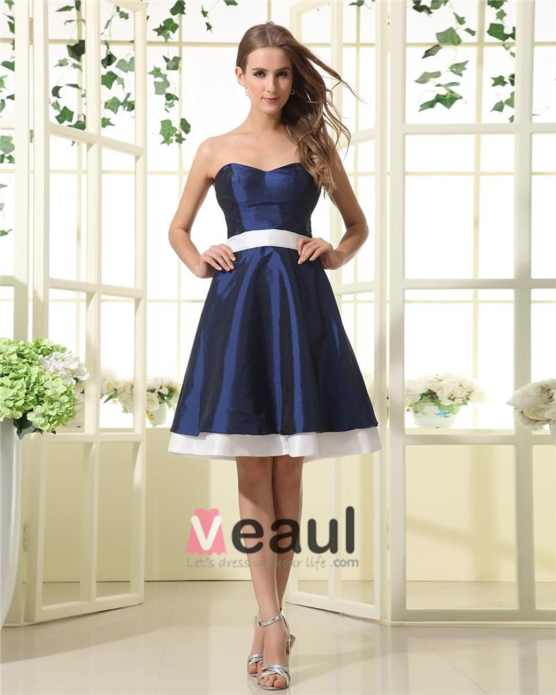 Strapless Sash Sweetheart Knee Length Bridesmaid Dresses