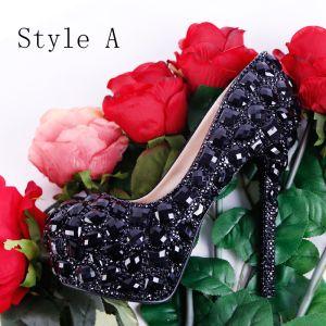 Scintillantes Noire 2018 Talons Hauts 12 cm Perlage Cristal Faux Diamant Escarpins Talons Aiguilles À Bout Pointu Mariage Promo Chaussures Femmes