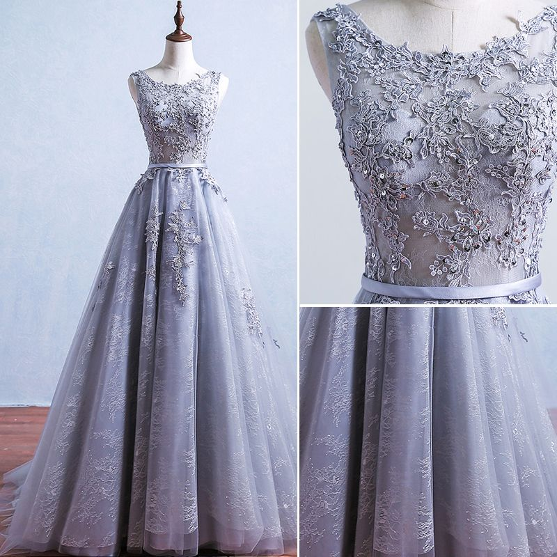 Elegant Grey Prom Dresses 2017 Appliques Lace Sleeveless Backless Sash Ruffle Tulle Formal Dresses