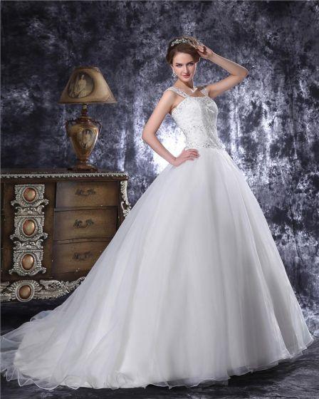 Kvadratisk Langd Beading Organza Kvinnor Bollen Klänning Brudklänningar Bröllopsklänningar