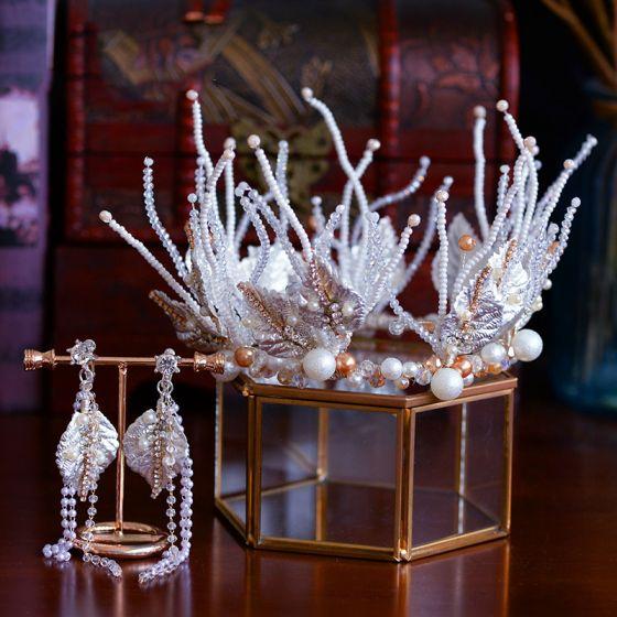 Luksusowe Białe Ślub Ozdoby Do Włosów Ślubne 2019 Metal Tiara Kolczyki Kryształ Rhinestone Liść Frezowanie Kutas Akcesoria