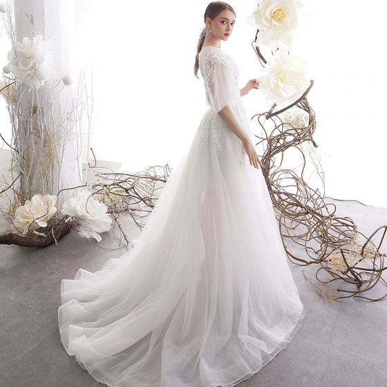 Illusion Ivory See-through Outdoor / Garden Wedding Dresses 2019 A-Line / Princess Square Neckline 1/2 Sleeves Backless Appliques Lace Beading Sweep Train Ruffle