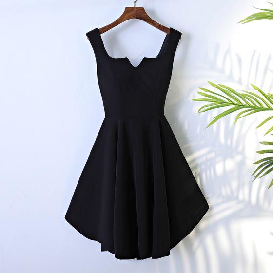 Sexy Black Graduation Dresses 2017 A-Line / Princess Cascading Ruffles U-Neck Short Sleeveless Formal Dresses