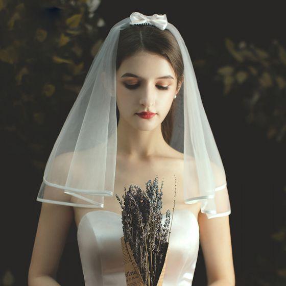 Schlicht Kurze Ivory / Creme Brautschleier 2020 1 m Tülle Hochzeit