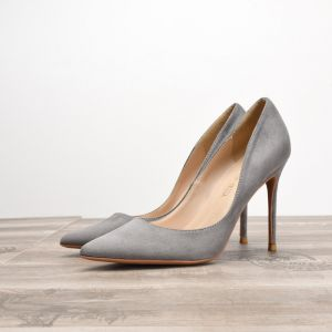 Modest / Simple Grey Office Pumps 2020 Suede 10 cm Stiletto Heels Pointed Toe Pumps