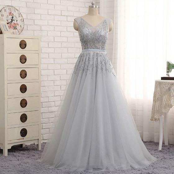 Chic / Beautiful Grey Evening Dresses  2017 A-Line / Princess Sequins Ruffle Sash V-Neck Sleeveless Floor-Length / Long Evening Party