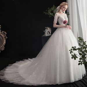 Elegant Ivory Wedding Dresses 2019 A-Line / Princess Scoop Neck Beading Sequins Lace Flower Short Sleeve Backless Cathedral Train