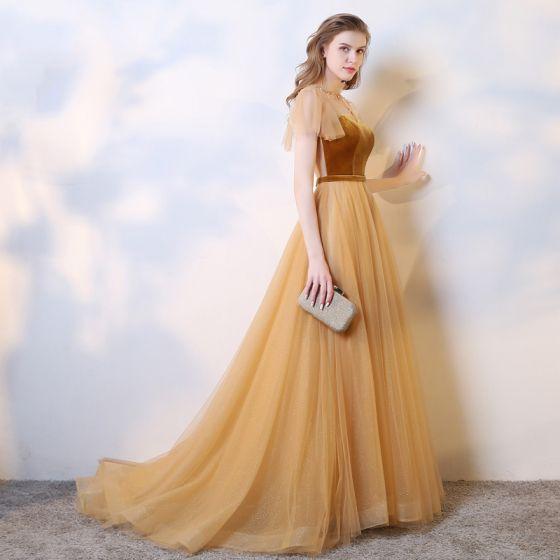 Piękne Złote Sukienki Wieczorowe 2019 Princessa Zamszowe Wycięciem Frezowanie Cekiny Kótkie Rękawy Długie Sukienki Wizytowe