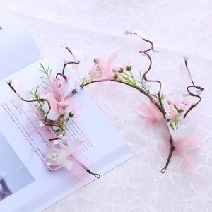 Flower Fairy Candy Pink Headpieces 2018 Tulle Flower Pearl Accessories
