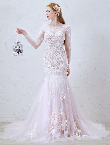 2016 Mermaid Gorgeous Scoop Neckline Applique Lace Flowers Long Sleeves Backless Pink Tulle Wedding Dress