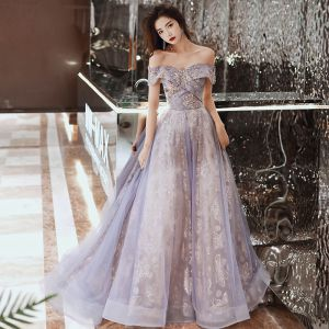 Charming Purple Prom Dresses 2020 A-Line / Princess Off-The-Shoulder Short Sleeve Appliques Sequins Sweep Train Ruffle Backless Formal Dresses
