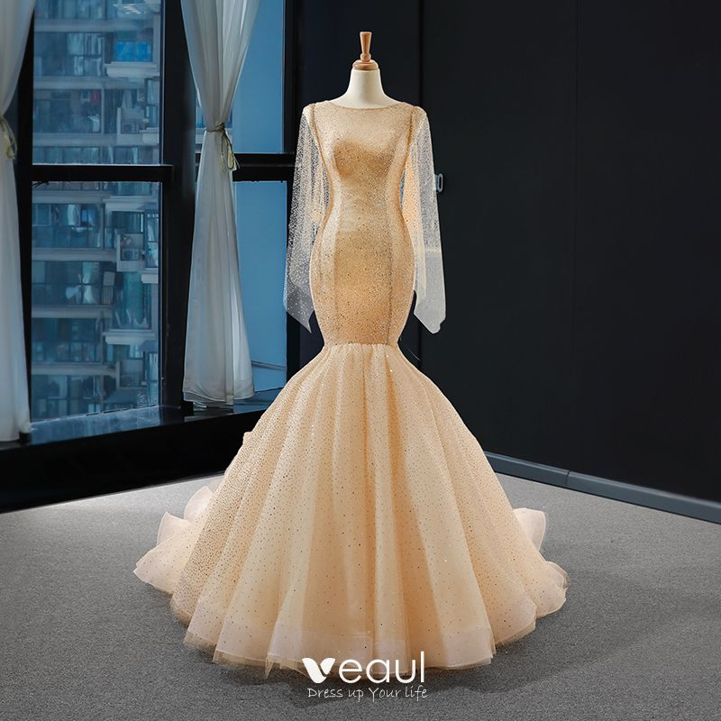 High End Champagne Bridal Wedding Dresses 2020 Trumpet Mermaid Scoop Neck Long Sleeve Backless Glitter Tulle Court Train Ruffle