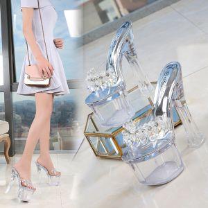 Sexig Transparent Silver Karnevalsklubb Kristall Sandaler Dam 2020 Rhinestone 17 cm Tjocka Klackar Peep Toe Sandaler