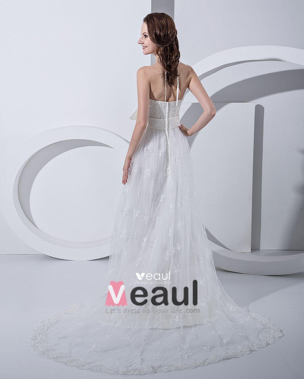 Applique Bead Halter Empire Bridal Gown Wedding Dress
