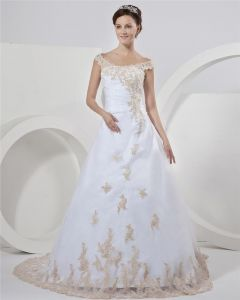 Satin Organza Beading Applique Off-the-shoulder Chapel Train A-Line Bridal Gown Wedding Dresses