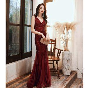Glitzernden Burgunderrot Abendkleider 2020 Meerjungfrau V-Ausschnitt Pailletten Ärmellos Rückenfreies Lange Festliche Kleider