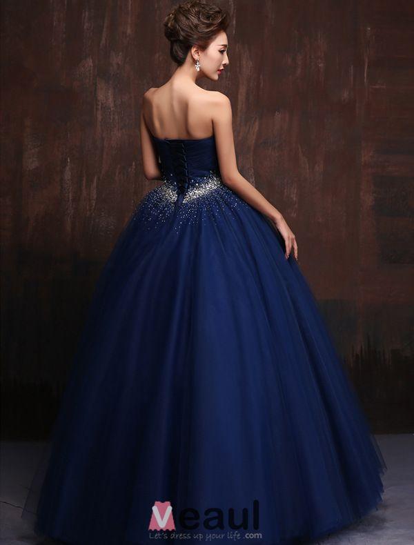 Glitter Sweetheart Perlen Strass Rüschen Tüll Königsblau Ballkleid