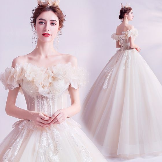 Charming Ivory Wedding Dresses 2020 Ball Gown Off-The-Shoulder Glitter Beading Sequins Lace Flower Appliques Short Sleeve Backless Floor-Length / Long